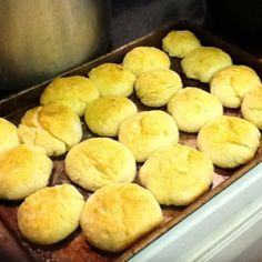 Homemade Popeye Biscuits!! 8oz sour cream, 4 cups Bisquick & 1 c. Sprite.Roll, place on pan & bake @ 425 degrees for 20 mins.