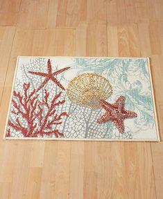 Coastal Sea Bath Rug Sea Shell Rustic Decor Ocean Beach Bathroom - Non skid bath rug for bathroom decorating ideas