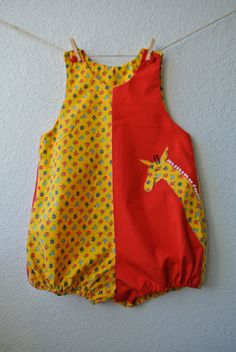 Vintage Toddler Clothes  Red & Yellow Floral Romper by NellsNiche, $12.00