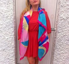 Huge Scarf. Large Vintage Square Scarf. Pink by YesterHere on Etsy, €22.00