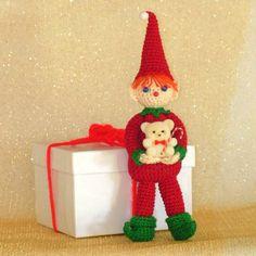 Percival Pixie, Elf Christmas Ornament, amigurumi