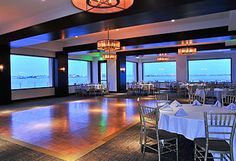 Wedding reception room with outdoor patio at Tom Ham's Lighthouse.