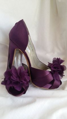 Purple Wedding Shoes Eggplant Bridal Shoes Dyeable by ABiddaBling