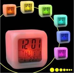 Glowing Digital Alarm Clock with Changing Colors