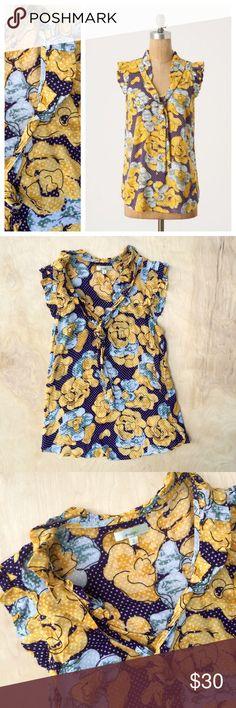 Anthro Porridge Floral Polka Dot Blouse Porridge flutter-sleeve Shelby blouse from Anthropologie. Really cute floral and polka dot print. Tie at neck. Size 2 Anthropologie Tops Blouses