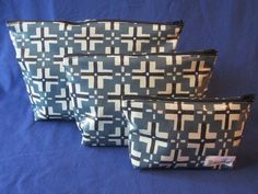 Set of Three Cosmetic Bags - Laminate Fabric for Easy Cleaning.