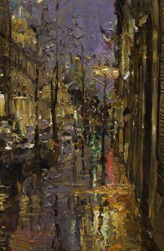Evening Rain In Paris Painting -Oleg Trofimoff