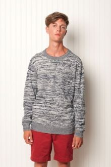 "Babel.  100% cotton, L/S crew neck pullover w/ pocket; 12gg cotton sweater knit. ""he's the minstrel in the galler?""  $89.99"
