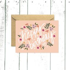 Flower Birthday Card Happy Birthday Card in Pink by augustandoak