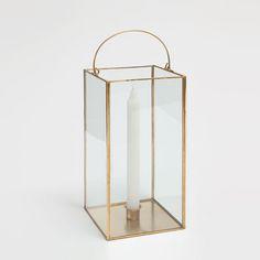 Lanterna vidro e metal dourada