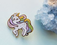 Unicorn Rainbow Pastel Enamel Pin by artworkandcutethings on Etsy