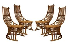 Midcentury  Rattan   Chairs, Set of 4