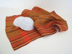 striped linen kitchen towel, linen tea towel, handwoven towel, bread cloth, dish towel, brown towel, orange towel, woven towel, farmhouse by ThreadandWoodCrafts on Etsy