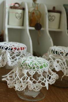 serwetki szydełkowe na słoiki, dekoracja kuchenna, crochet, hand made, rękodzieło, Pracownia A.D. Home
