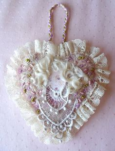 Rag Rescue ♥ Lady lace felted heart.