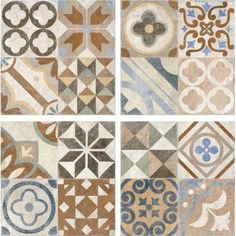 The new Andalusia range features a beautiful patchwork patterned decor tile. The decor tile features a random assortment of semi-repeating patterns in 4 panels that creates the illusion of smaller tiles Patchwork Patterns, Tile Patterns, Small Tiles, Tiles Texture, Andalusia, Interior Exterior, Repeating Patterns, Porcelain Tile, Rustic Decor