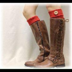 Boot Cuffs Red Knit. Designer Closeout Usa Made