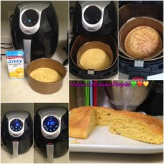 Store bought Cornbread mix baked in Air-fryer Update I used 2 small loaf pans that fit inside my AirFryer. I was able to bake the cornbread at in 15 minutes. Air Fryer Recipes Dessert, Air Fryer Oven Recipes, Air Fry Recipes, Keto Recipes, Nuwave Air Fryer, Nuwave Oven Recipes, Cooks Air Fryer, Air Fried Food, Cornbread Mix