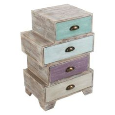 WOODEN COMMODE/DRAWER (BIRCH) IN BROWN/PASTEL COLORS 45X35X68- inart.com