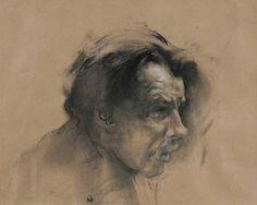 """A Man   16""""x20"""", paper, chalk, charcoal, 2006"""