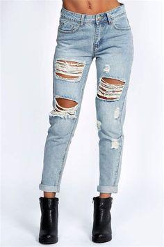 03e0139ca8e8 All Over Ripped 7 8th Jeans   Boohoo