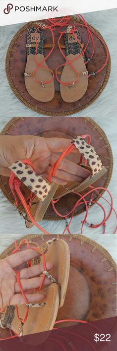 Dolce Vita Karma gladiator sandals Excellent pre owned condition sandals by DV Size 8 Only visible wear is on bottom of sole Coral ankle straps with cheetah print sides DV by Dolce Vita Shoes Sandals