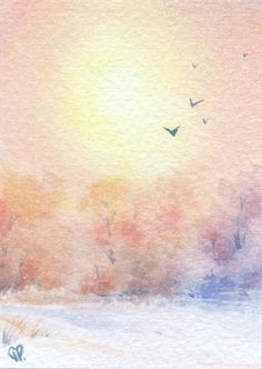Freezing sunshine - Original watercolor ACEO painting