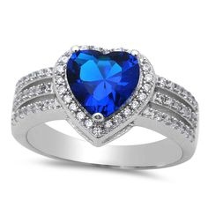 Heart Halo Ring Solid 925 Sterling Silver 1.74CT Heart Deep Blue Sapphrie CZ Round Russian Clear Diamond CZ Dazzling Halo Promise Ring