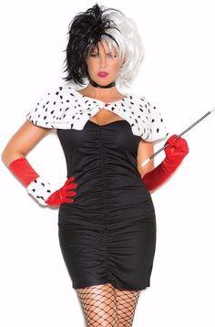 cruella de vil sexy costume 1x2x women plus cosplay halloween dress disney dog