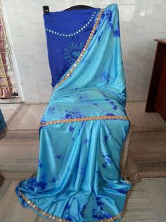 Satin shibouri sarees with blouse embroidery and mirror work lace Elegant Fashion Wear, Trendy Fashion, Shibori Sarees, Mirror Work, Blouse Designs, Indian Fashion, Cool Style, Satin, Embroidery