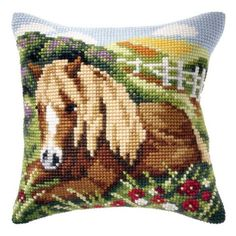 Orchidea Beautiful Horse Pillow Cover Needlepoint Kit