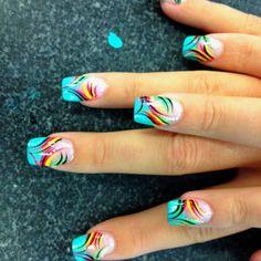 90 + Perfect Nail Art Design e colori per l& - Nail looks - Cruise Nails, Vacation Nails, Fabulous Nails, Perfect Nails, Diy Nail Designs, Fingernail Designs, Pretty Nail Art, Funky Nails, Rainbow Nails