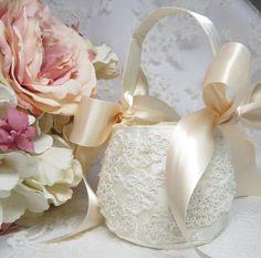 Blush and Ivory Flower Girl Baskets Ivory by FlowerdanceBridal 45