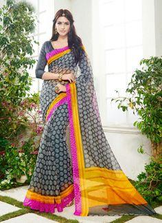 Outstanding Multi Colour Net Casual Saree