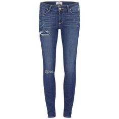 Paige Women's Mid Rise Carmen Distressed Mid Rise Skinny Jeans - Light... (£106) ❤ liked on Polyvore