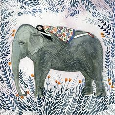 Illustration 'Elephant Dream' print by Yelena Bryksenkova Art And Illustration, Illustrations, Elephant Illustration, Watercolour Illustration, Elephant Love, Elephant Art, Elephant Watercolor, Elephant Family, Alphonse Mucha