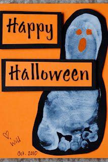 Ghost Feet Halloween Cards via smalltc #Halloween #crafts #DIY #kids