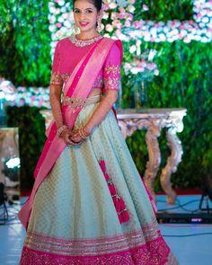 The Most Gorgeous South Indian Lehenga Saree Designs We Spotted! - The Most Gorgeous South Indian Lehenga Saree Designs We Spotted! Half Saree Lehenga, Lehenga Saree Design, Indian Lehenga, Lehenga Designs, Lehanga Saree, Saree Gown, Lahenga, Indian Gowns Dresses, Indian Fashion Dresses