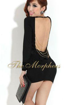 Morpheus Boutique  - Black Scoop Neck Backless clubwear Mini Dress