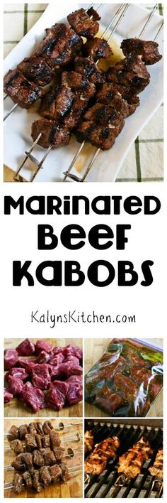 Marinated Beef Kabobs are a tasty dinner from the grill that's low-carb, gluten-free, South Beach Diet friendly, and they can even be Paleo if you choose the right ingredients. And this will be a hit with the whole family! [found on KalynsKitchen.com]