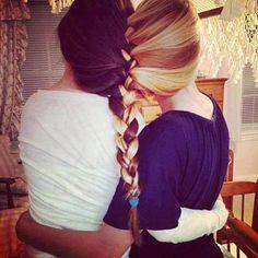 Blonde brunette braid best friends