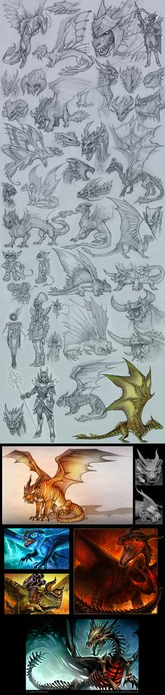 Dragons Dragons Dragons by tracyjb ---- Clearly, someone has more time to draw…