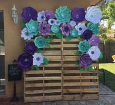 Items similar to Paper Flower Backdrop, Giant Paper Flowers, Paper flower wall on Etsy Paper Flower Wall, Paper Flower Backdrop, Giant Paper Flowers, Diy Flowers, Diy Paper, Paper Crafts, Pallet Backdrop, Diy Backdrop, Mermaid Baby Showers