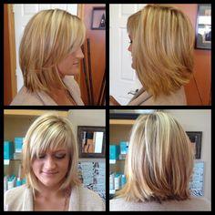 #Balayage #highlights w/ chesnut lowlights, angled #bob haircut w/ short wispy fringe