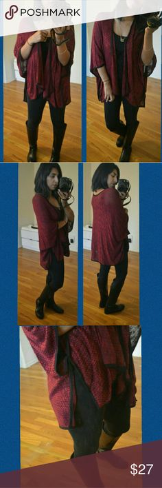 ▪NEW▪BURGUNDY BLACK MARLED CARDIGAN Holy moly! I LOVE this piece.  Absolutely comfortable and stylish. Open knit. Burgundy with black.  Black piping. Slit sides. Lightweight. Perfect for running errands or lounging around. Simple must have.   size available; S M L   PRICE IS FIRM UNLESS BUNDLED. BUNDLE AND SAVE  LIMITED TIME, 25% OFF ALL BUNDLES.   Sweaters Cardigans