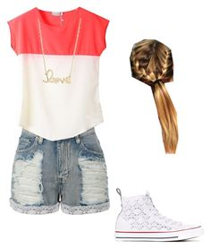 """Basic summer"" by brooke176 on Polyvore featuring LE3NO, Converse and Sydney Evan"