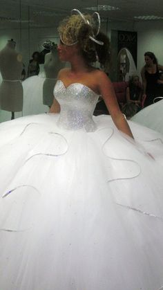 Bling wedding dress. Not the silliness going on in her hair