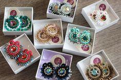 Soutache jewelry, soutache earrings, crystal earrings, handmade in Italy…