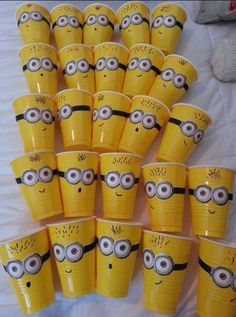minion cups for blue and gold;  use printable minion eyes also on this pinterest board