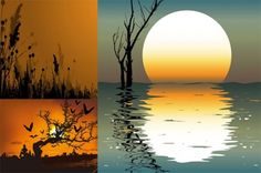 3 Glowing Sunset Silhouette Vector Backgrounds - http://www.dawnbrushes.com/3-glowing-sunset-silhouette-vector-backgrounds/
